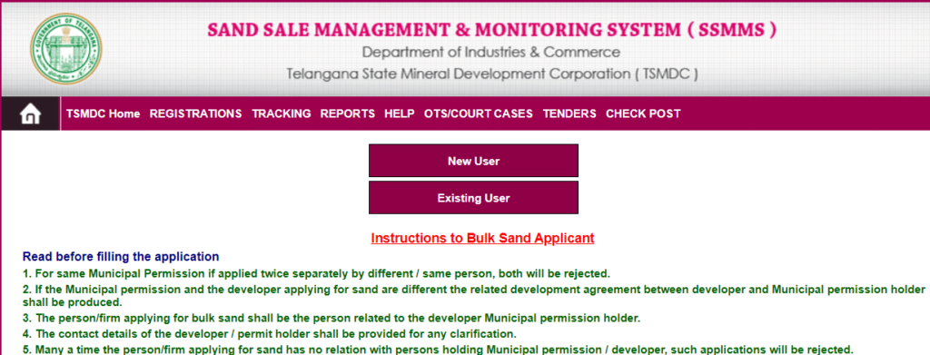 Application For Bulk Sand Under TS Sand Booking