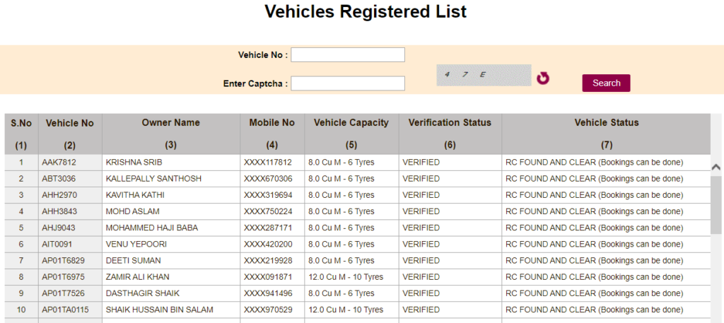 To View Vehicle Registered List Under TS Sand Booking