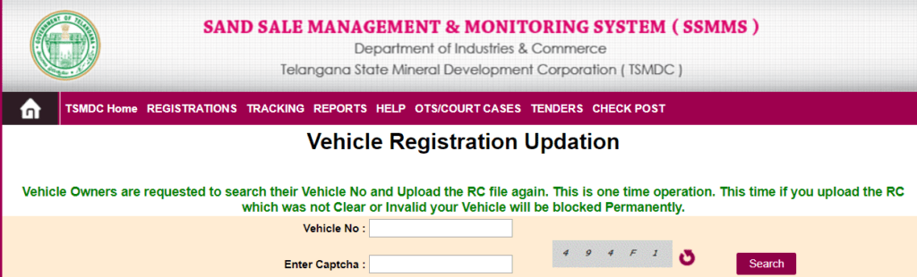 Process To Do Vehicle Registration Updation Under TS Sand Booking