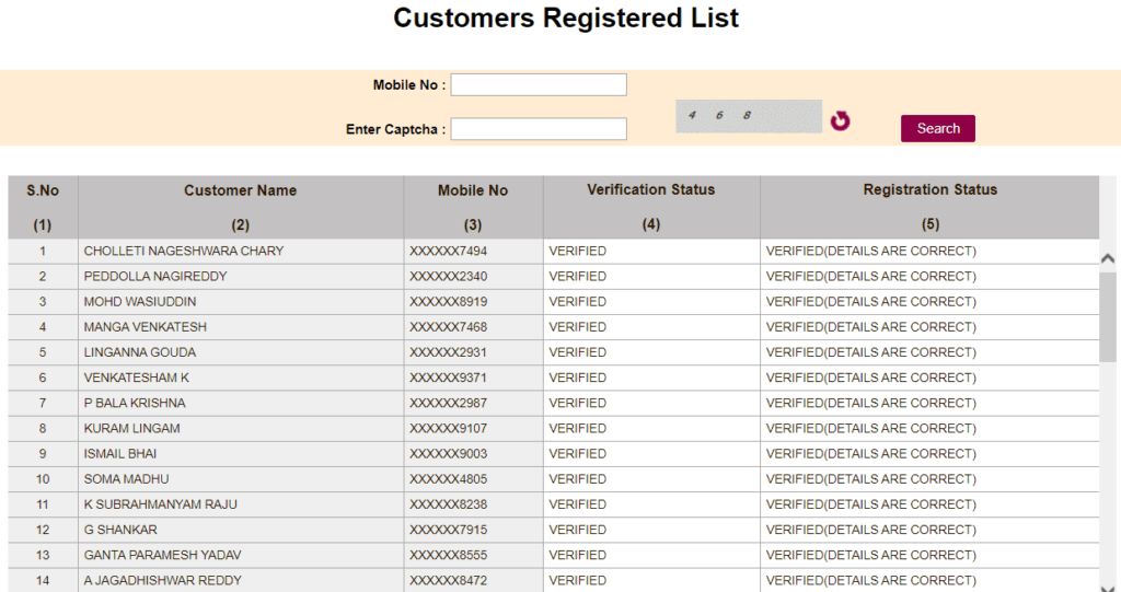 Process To View Customer Registered List Under TS Sand Booking