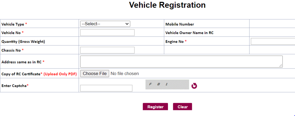 TS Sand Booking Vehicle Registration
